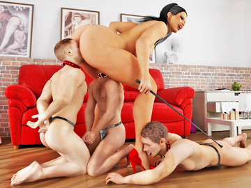 Slutty mistress gets a kick out of controlling her three guys.