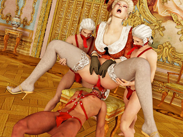 Salacious lady likes being licked clean by her three servants.