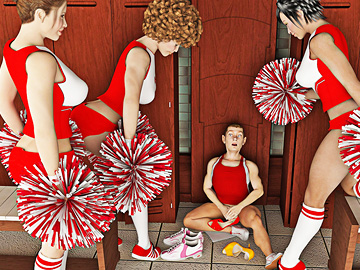 Gorgeous cheerleaders punish their guy for being too dirty.